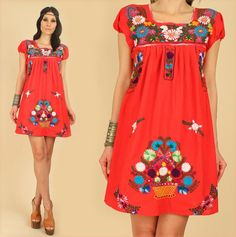#ViNtAgE 70's #Floral #Mexican #Embroidered #Dress #Cotton by hellhoundvintage