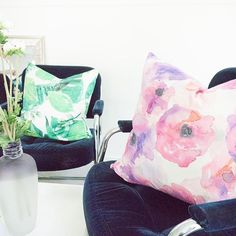 Hanging out with Poppy and Andy. Because that's how we roll.   Featuring the Poppy and Andy prints by JOUE Design   Shop this look and more www.jouedesign.com   original artwork   painting   watercolor   textile print   fabric   linen cotton   down feather   throw pillow   poppy palm   floral   botanical