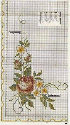 para bordar, gráficos ponto cruz, rosas, Ponto Cruz, Gráficos, flores, Toalha de Banho, gráficos de rosas, para bordar toalha de mesa, centro de mesa, caminho de mesa, Ponto Cruz Rosas, Para Toalha Redonda