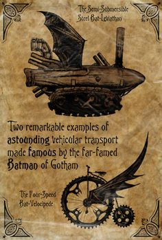 Another Steampunk batman crossover concept, this time with vehicles.