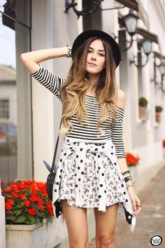 FashionCoolture -  04.08.2015 Slywear black and white mix of prints striped top (2)
