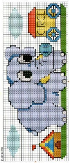 elefante Baby Boy Knitting Patterns, Fair Isle Knitting Patterns, Knitting Stitches, Baby Knitting, Cross Stitch Baby, Cross Stitch Charts, Cross Stitch Designs, Cross Stitch Patterns, Perler Patterns