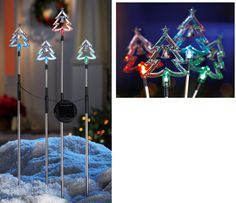 Color Changing Solar Christmas Trees Stakes - Set of 4