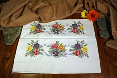 Handmade Embroidered Pillowcases Cross Stitch by ADKArtsBoutique, $45.00