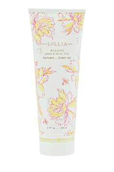 """Breathe Perfumed Shower Gel by Lollia, a luxe cleanser and conditioner of shea butter, mango butter and avocado oil that delivers skin essential nutrients to smooth and moisturize. Scent repertoire includes peony and white lily with hints of grapefruit and orange. Stunningly packaged in satin-touch tube with floral pattern and delicate metallic detailing. 8 fl. oz. 