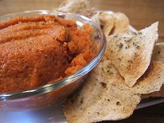 Recipe:Baked herb pita crisps with roasted carrot dip Course: