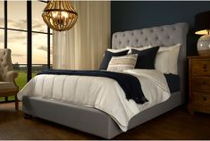 @ Patrick Upholstered Sleigh Bed By Canora Grey Upholstered Headboard, Tufted Bed, Traditional Bedroom, Upholstered Sleigh Bed, Fabric Bed, Bed Sizes, Bedroom Inspirations, Upholstered Platform Bed, Beige Bed
