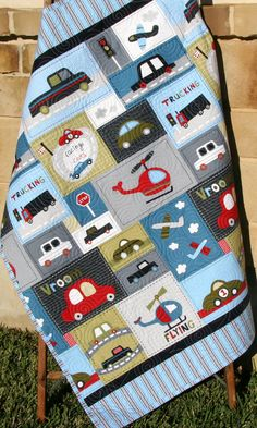 Car Quilt Baby Boy Toddler Bedding Vehicles by SunnysideDesigns2
