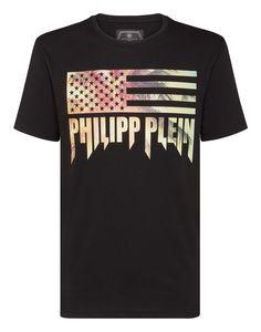 131559a2291 PHILIPP PLEIN T-SHIRT PLATINUM CUT ROUND NECK ROCK PP. #philippplein #cloth