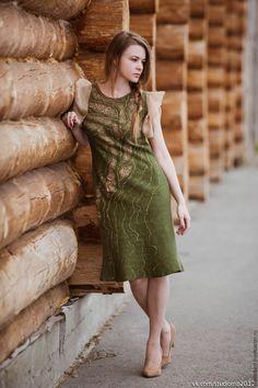 """Купить Валяное платье """"Алёнушка"""" - валяное платье, платье валяное, платье на каждый день, платье"""