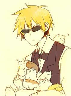 "XD I love his face, ""The fuck you lookin' at? A grown man can love cats."" - Durarara!! - Shizuo Heiwajima"