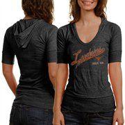 Texas Longhorns Ladies Captain Premium Tri-Blend Half Sleeve Hoodie T-Shirt - Charcoal