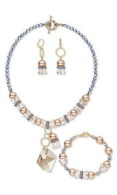 Single-Strand Necklace, Bracelet and Earring Set with Swarovski Crystal