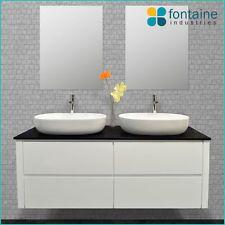 Bathroom Vanity 1500 White Wall Hung Ceramic Double Basins Stone NEW Vanities