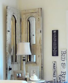 DIY / CRAFTS ~ Antique French Doors with Old Hardware + Mirrors added where Windows used to be! ~ My parents bought these for their shoppe but knew I LOVED them SOOO much, they saved them to give to me for Christmas years ago. I will never part with them! ;) {Photo by: K. Porcher, aka TruePassionista on Pinterest}