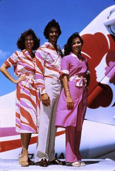 "1979. Hawaiian Airlines' brilliant hibiscus red and bright orchid logo colors at the time inspired the creation of an exclusive print named ""Sky"" for the uniform program in 1979, which was the airline's 50th anniversary. Flight attendants were able to make 20 different outfits from a wardrobe of six garments."