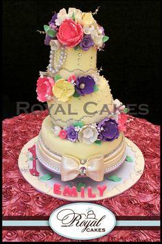Sugar Blossoms!  Colorful sugar flowers glorify a 3 tier feminine soft yellow fondant birthday cake. ~ Royal Cakes RoyalCakesLA.com