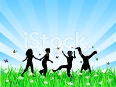 Children playing royalty-free stock vector art