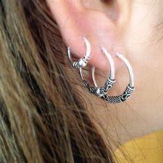 Bali Hoop Earrings. Tribal Earrings.