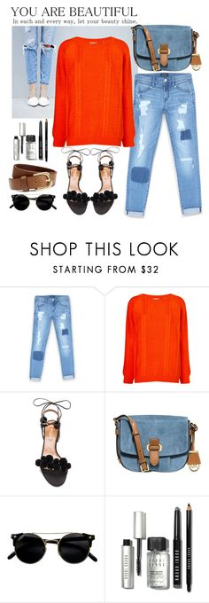 """""""team with jeans"""" by dotty-28 ❤ liked on Polyvore featuring Bebe, Chinti and Parker, Aquazzura, MICHAEL Michael Kors, Bobbi Brown Cosmetics, H&M, orange and jeans"""