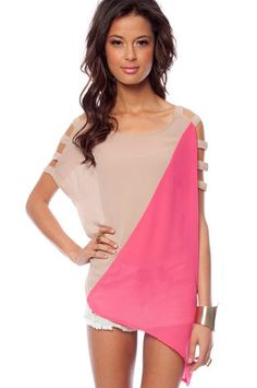 Too Toned Ladder Top in Khaki and Pink  at www.tobi.com...love this top