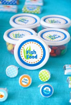 """under the sea party """"fish food"""" party favors"""