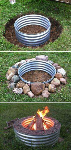 Awesome DIY Fire Pit Ideas DIY fire pit designs ideas – Do you want to know how to build a DIY outdoor fire pit plans to warm your autumn and make s'mores? Find inspiring design ideas in this article. Deck Fire Pit, Fire Pit Backyard, Backyard Pergola, Backyard Landscaping, Backyard Ideas, Patio Ideas, Landscaping Blocks, Pergola Ideas, Build A Fire Pit