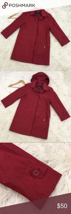"❤️London Fog❤️ Red Trench Raincoat London fog women's red trench coat Petite Medium  • Dark red • Detachable hood • Button Down • Water resistant • Shoulder pads • Lined • Coat has a sash and it is in the front pocket to use if you wish. • Gently worn no flaws. Length: 34"" Armpit to armpit: 21"" Sash : 64"" length & 2"" width  📌NO lowball offers 📌NO modeling 📌NO trades London Fog Jackets & Coats Trench Coats"