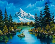 Choose your favorite bob ross paintings from millions of available designs. All bob ross paintings ship within 48 hours and include a money-back guarantee. Mountain Paintings, Nature Paintings, Beautiful Paintings, Beautiful Landscapes, Fall Paintings, Romantic Paintings, Watercolor Landscape, Landscape Art, Landscape Paintings