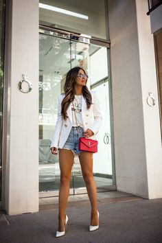 Blazers make an outfit feel more pulled together, but the Balmain blazer takes that to another level. Here's why the Balmain blazer is worth the investment. White Jacket Outfit, White Blazer Outfits, Casual Fall Outfits, Short Outfits, Classy Outfits, Chic Outfits, Trendy Outfits, Summer Outfits, Fashion Outfits