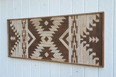 Reclaimed Wood Wall Art Zapotec Style Kilim Design-Twin