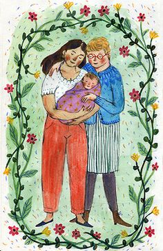 """""""Two Mamas"""" an illustration for Mother's Day that will be available as a card and print, TOMORROW 4/23/14 in my Etsy shop!"""