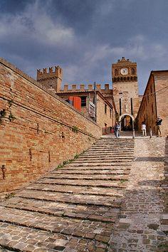 Climbing to Gradara Fortress, Emilia-Romagna, Italy