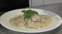 Scaloppine, thin cuts of meat. Here we cook it with mushrooms in a lovely cream sauce!