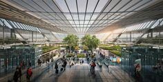 foster + partners articulates taiwan airport terminal proposal around linear garden