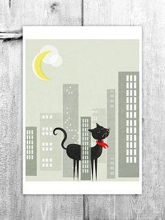Night Life Alley Cat Kids Wall Art Digital Print by revigorer, £12.00