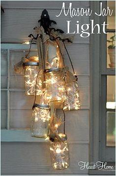 Mason jar lights with ribbon