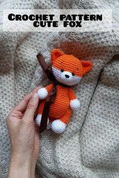 Amigurumi crochet pattern little cute fox - Stofftiere Crochet Patterns For Beginners, Crochet Patterns Amigurumi, Crochet Stitches, Crochet Dolls, Crochet Fox Pattern Free, Free Pattern, Amigurumi Fox, Crochet Teddy, Crochet Animals