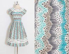 Vestido vintage años 40 | vestido vintage años 1940 | algodón de lunares rayas ondulado | m/l | 5894