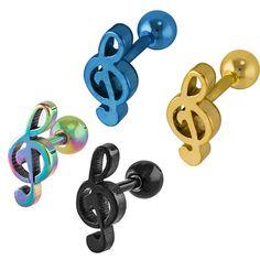 Treble Clef Anodized Titanium Cartilage Helix Earring Stud at FreshTrends.com