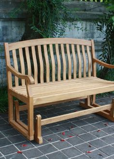 All-natural Teak Glider Outdoor Bench - Grandin Road