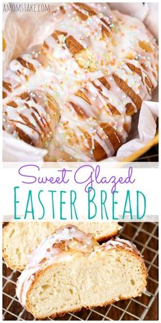 The sweet glazed topping and touch of sprinkles will make this delicious Easter bread a huge hit with your gathering. A perfect Easter side dish recipe. via /amomstake/