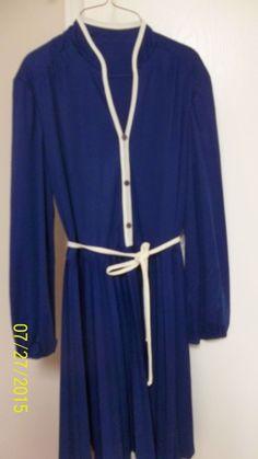 Vintage Size 16 Career/Clubwear Pleated Shirtwaist Dress, Blue/White, Long Sleeves, Self-Belt by JoycesVintageOldies on Etsy