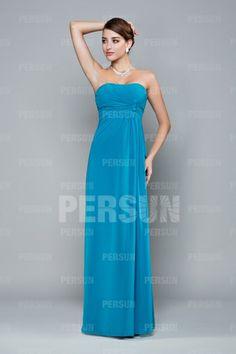 Pleats Ruching Strapless Chiffon  A-line Bridesmaid Dress