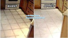 Vous cherchez comment nettoyer le sol de la cuisine ?C'est vrai que le sol de la cuisine s'encrasse rapidement.Notamment à cause des projections de graisse dont on ne peut venir à bout f Tile Floor, Diy And Crafts, Cleaning, How To Plan, Deco, Organiser, Couture, Beignets, Frugal Living