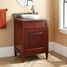 24 hawkins mahogany vanity for semi recessed sink