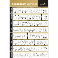 """Laminated Suspension Exercise Poster - Strength Training Chart - Build Muscle, Tone & Tighten - Home Gym Resistance Workout Routine - Fitness Guide - Bodyweight Resistance -20""""x30"""""""