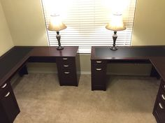 His and hers home office. Two L-shaped desk from Office Depot. Turned out good for us! Sadly not enough space for a side table for printer or decor. Have no idea what to do with the space in between. #two person study #double desk study office