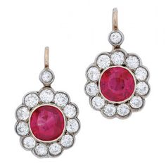 Antique Certified Burmese Ruby Diamond Silver Gold Ear Pendants | From a unique collection of vintage drop earrings at https://www.1stdibs.com/jewelry/earrings/drop-earrings/