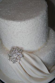 wedding cakes - broch cakes CT - purple cake with a white sash or vice versa